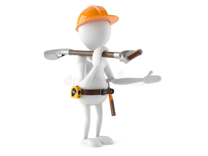 Trabalhador manual com pá ilustração do vetor