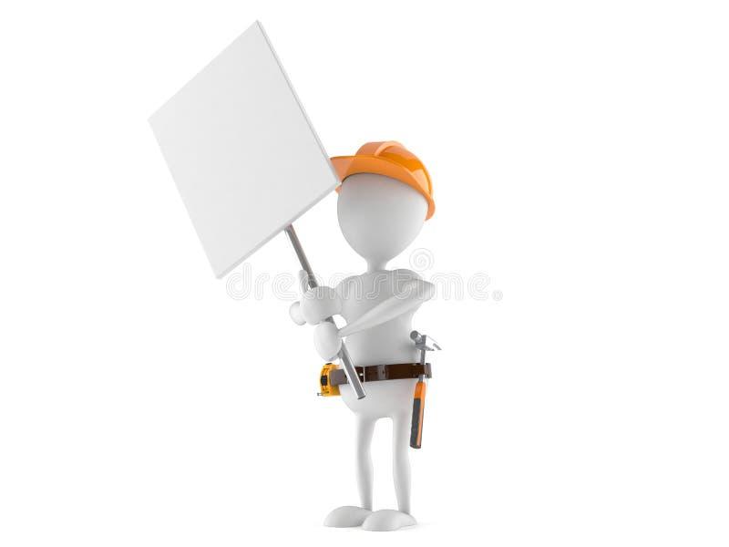 Trabalhador manual com quadro indicador ilustração royalty free