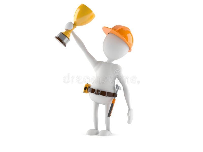 Trabalhador manual com troféu ilustração stock