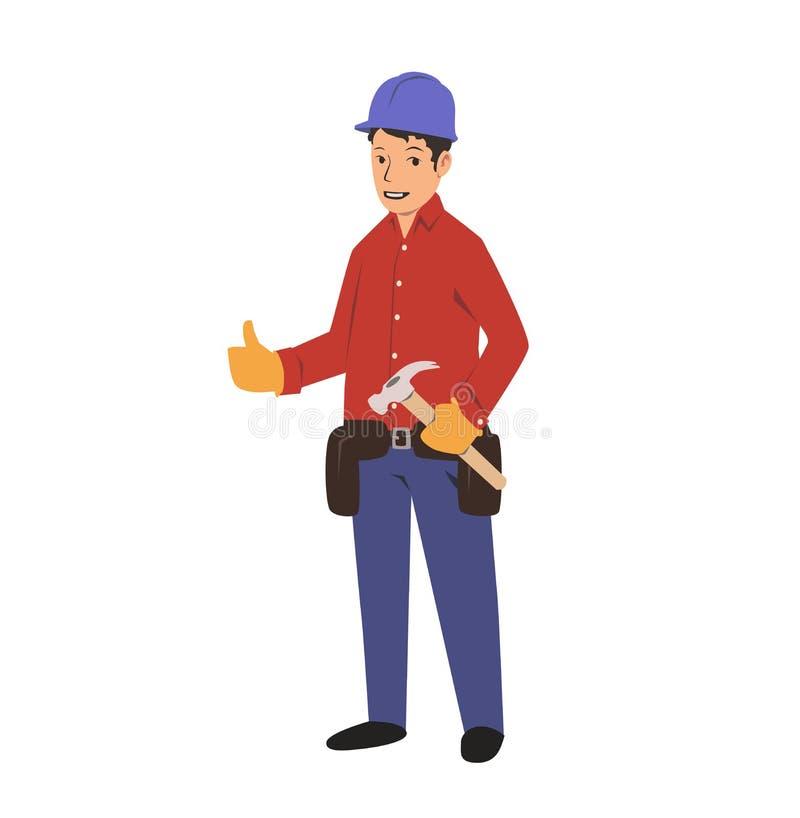 Trabalhador manual com uma correia da ferramenta e um martelo Serviço da renovação da casa Ilustração lisa do vetor Isolado no fu ilustração royalty free