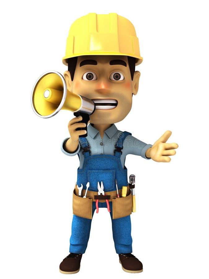 trabalhador manual 3d com megafone ilustração do vetor