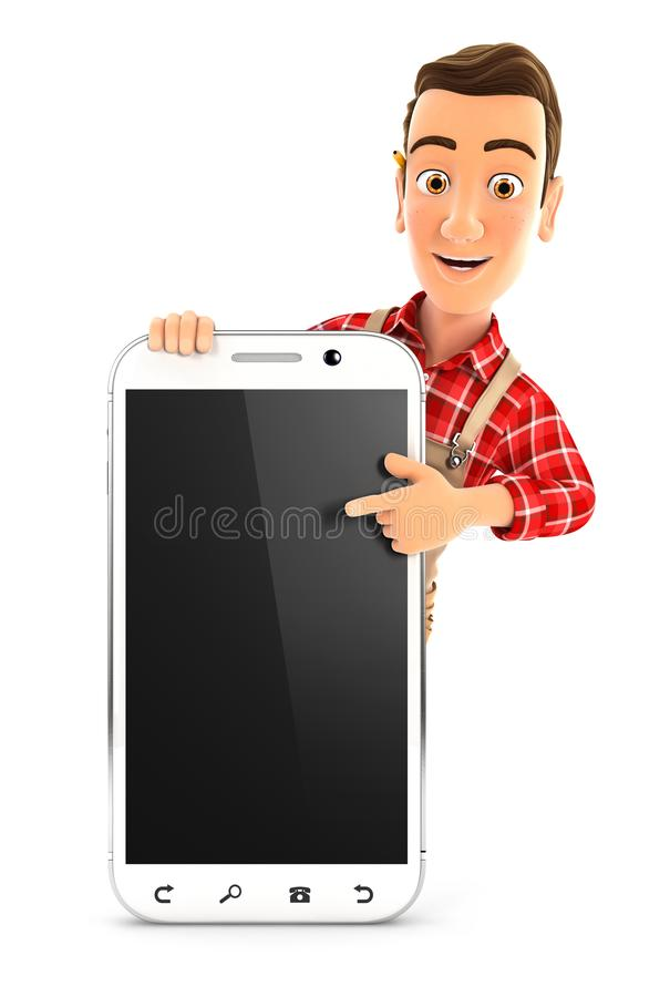 trabalhador manual 3d que aponta ao smartphone vazio ilustração royalty free