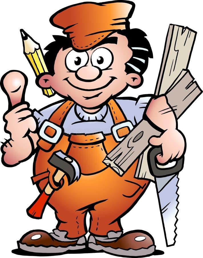 Trabalhador manual do carpinteiro ilustração stock
