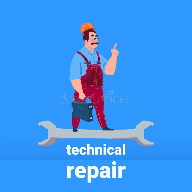 Trabalhador manual do mecânico do encanador que está no conceito técnico do apoio do reparo da chave no fundo azul liso ilustração do vetor