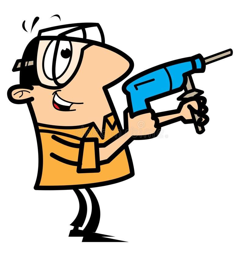 Trabalhador manual dos desenhos animados com broca e óculos de proteção fotografia de stock
