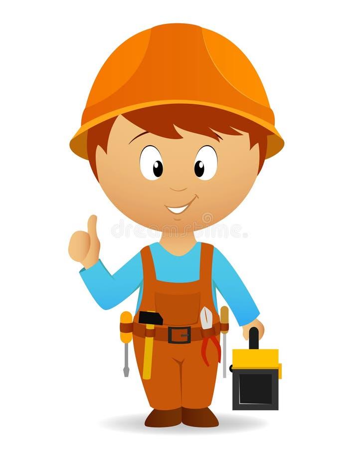 Trabalhador manual dos desenhos animados com ferramentas correia e caixa de ferramentas ilustração stock