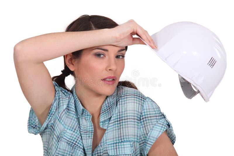 Trabalhador manual fêmea Tired fotos de stock