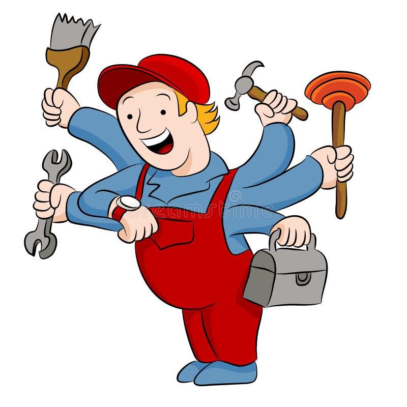 Trabalhador manual ocupado ilustração stock