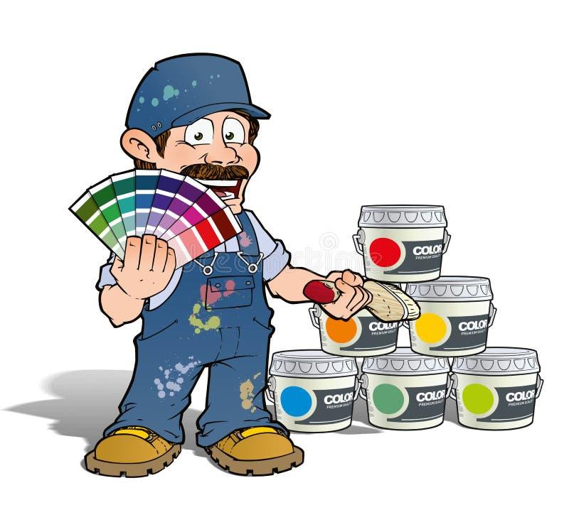 Trabalhador manual - pintor da colheita da cor - azul ilustração do vetor