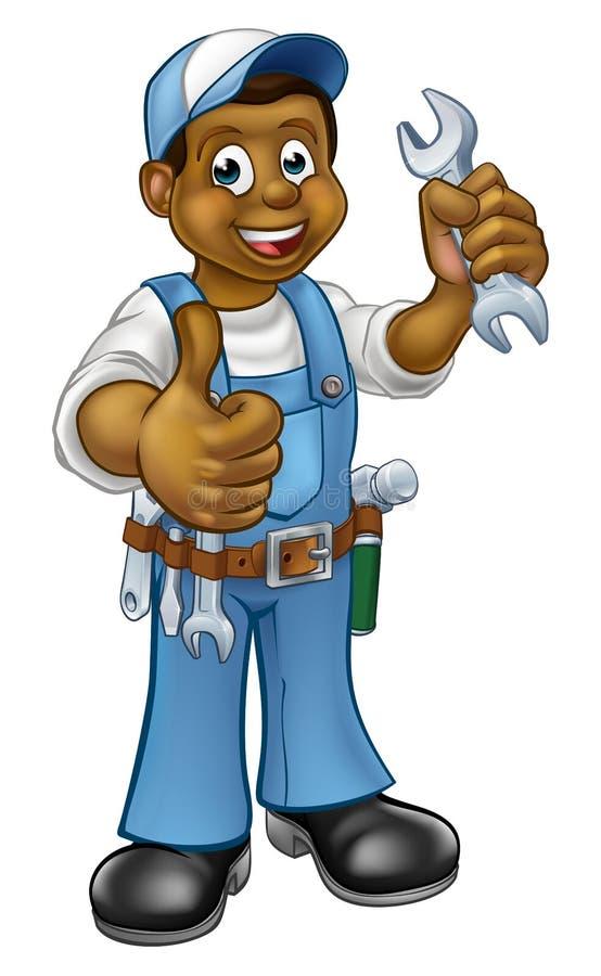 Trabalhador manual With Spanner do mecânico ou do encanador ilustração stock