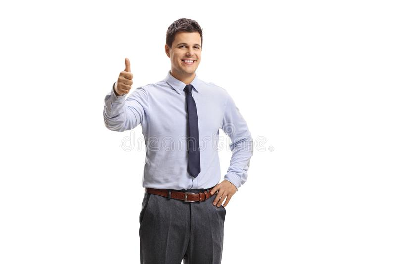 Trabalhador masculino do colar branco alegre que mostra os polegares acima fotografia de stock royalty free