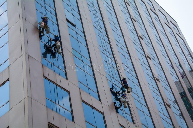 Trabalhador masculino na arruela mais limpa de vidro profissional dos macacões foto de stock royalty free