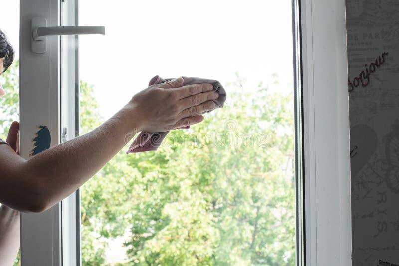 Trabalhador masculino que mantém o pano à disposição e que limpa a janela foto de stock royalty free