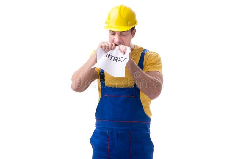 Trabalhador não feliz com seu contrato de emprego imagem de stock