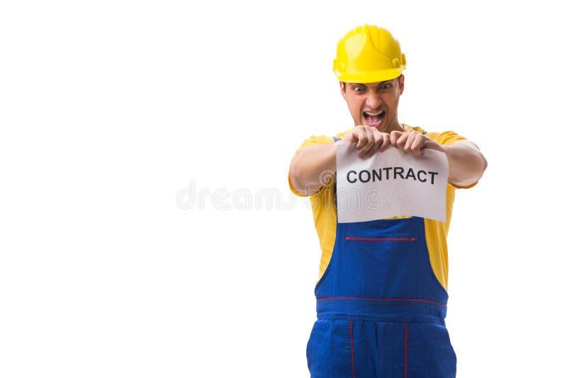 Trabalhador não feliz com seu contrato de emprego fotografia de stock royalty free