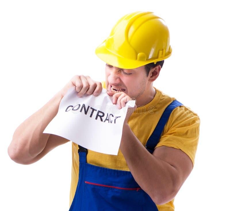 Trabalhador n?o feliz com seu contrato de emprego imagem de stock