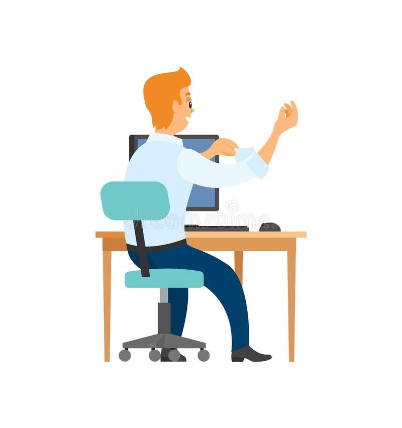 Trabalhador na cadeira, no computador e na tabela, vista traseira ilustração royalty free