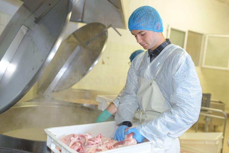 Trabalhador na fábrica de processamento da galinha fotografia de stock