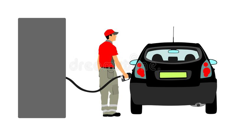 Trabalhador na suficiência do posto de gasolina a máquina com combustível Equipe o combustível de enchimento da gasolina no bocal ilustração stock