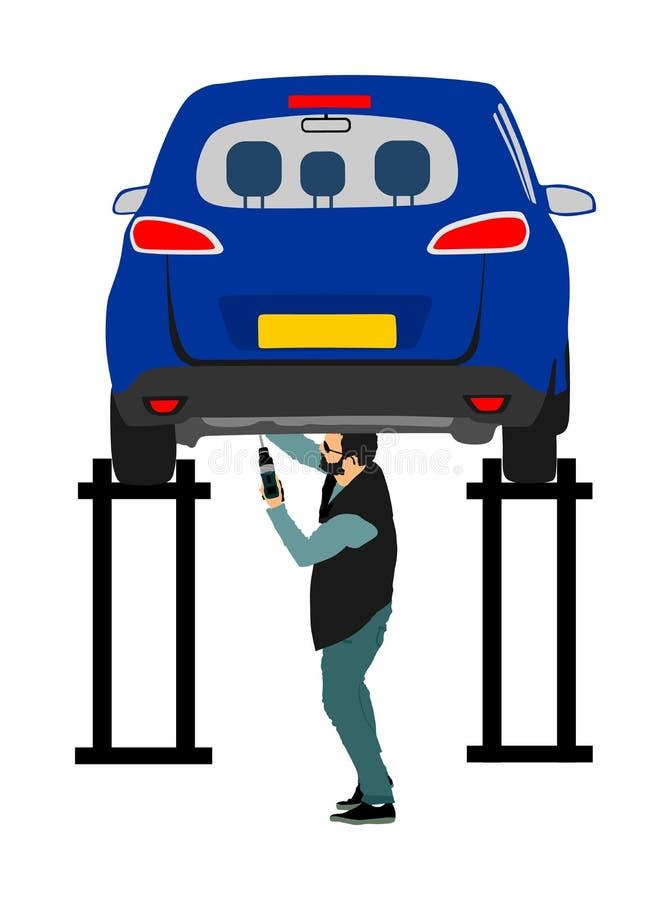 Trabalhador no serviço do carro que verifica a ilustração do vetor do veículo isolada no branco Carro aumentado no elevador no au ilustração royalty free
