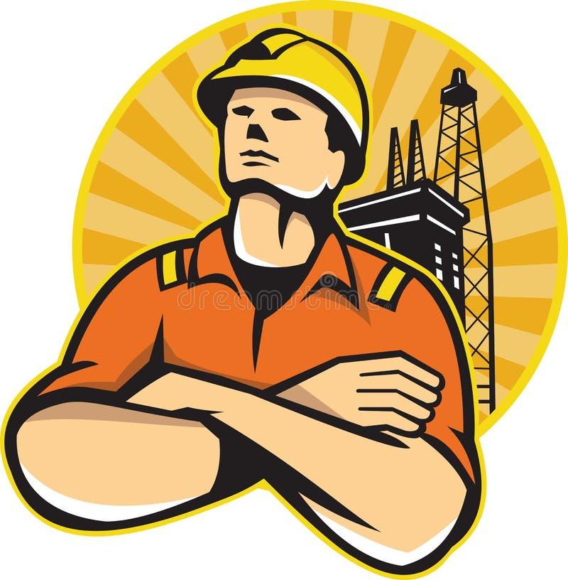 Trabalhador a pouca distância do mar Rig Retro do petróleo e gás ilustração royalty free