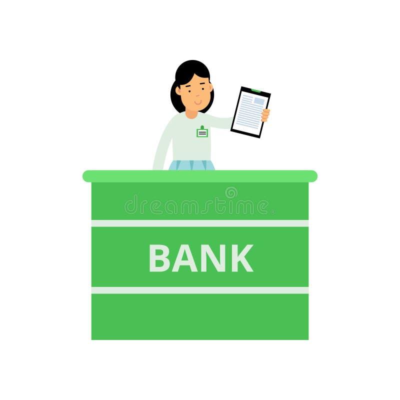 Trabalhador profissional da operação bancária que está atrás da mesa de recepção Caráter da mulher dos desenhos animados que mant ilustração stock