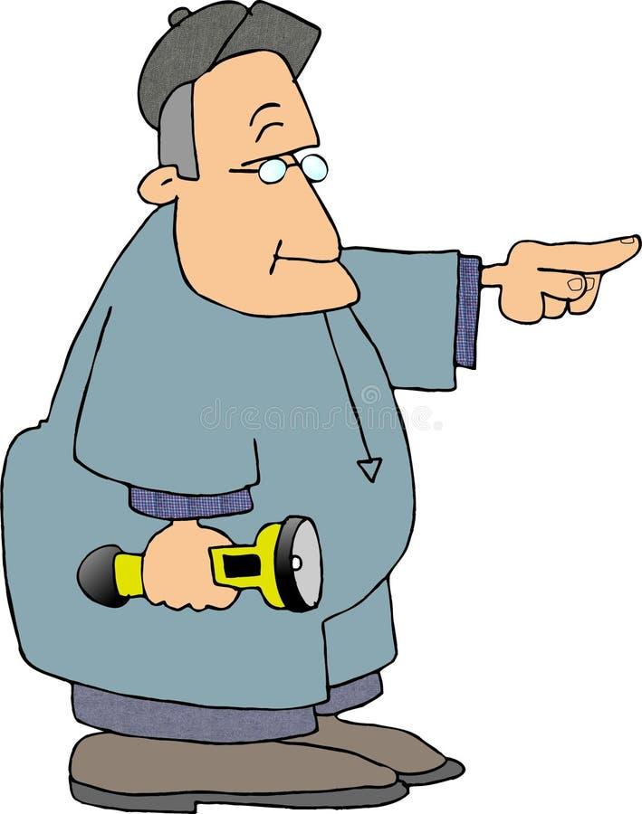 Trabalhador que carreg uma lanterna elétrica ilustração royalty free