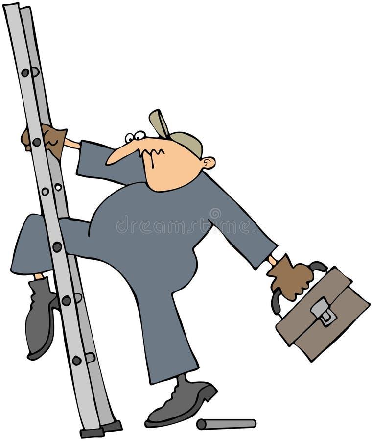 Trabalhador que desliza em uma escada quebrada ilustração royalty free
