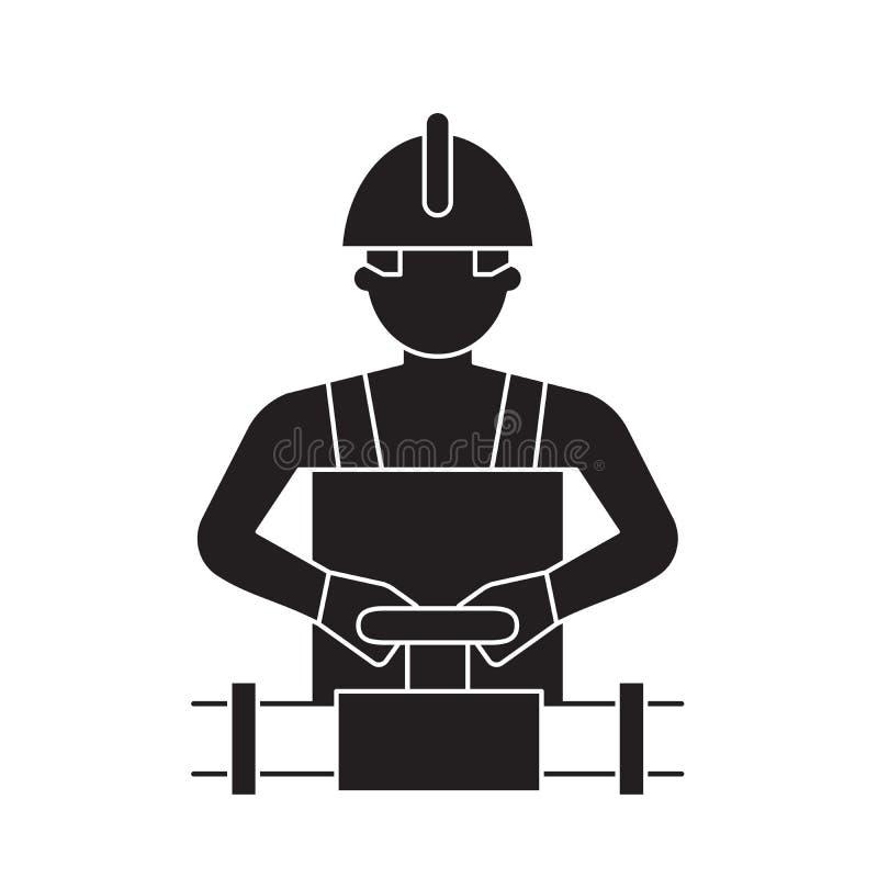 Trabalhador que gerencie o ícone do conceito do vetor do preto da válvula Trabalhador que gerencie a ilustração lisa da válvula,  ilustração royalty free