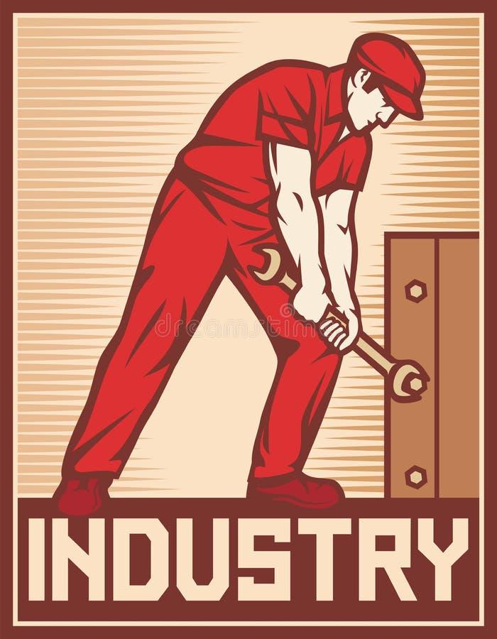 Trabalhador que guarda a chave ilustração do vetor