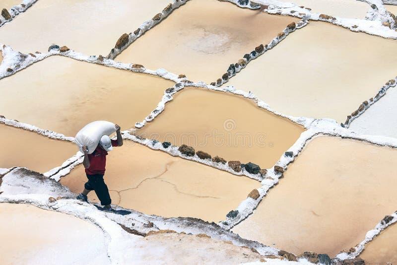 Trabalhador que trabalha nos pântanos de sal de Cusco no Peru fotografia de stock royalty free