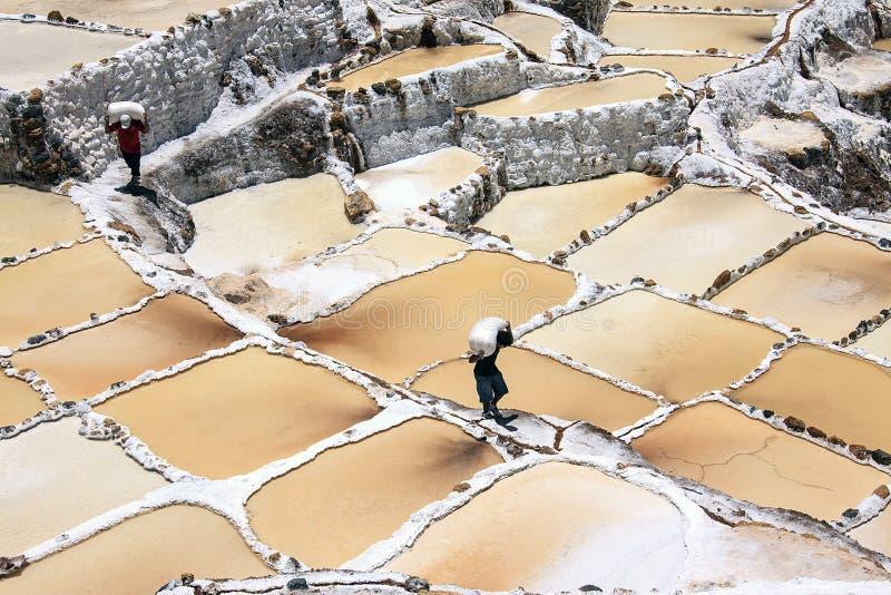 Trabalhador que trabalha nos pântanos de sal de Cusco no Peru fotos de stock royalty free
