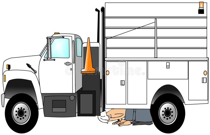 Trabalhador que verific seu caminhão ilustração stock