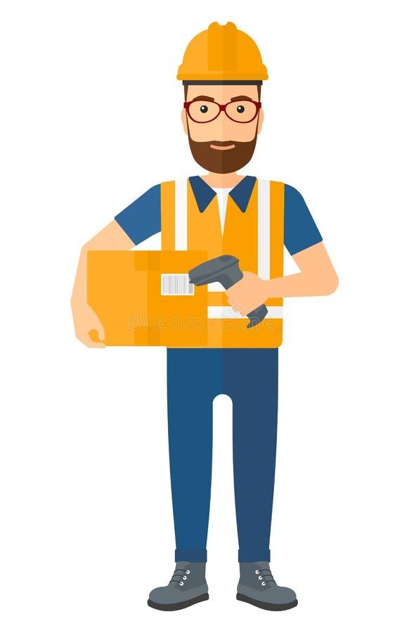 Trabalhador que verifica o código de barras na caixa ilustração do vetor