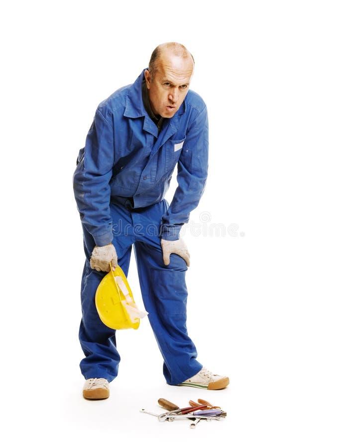 Trabalhador Tired foto de stock