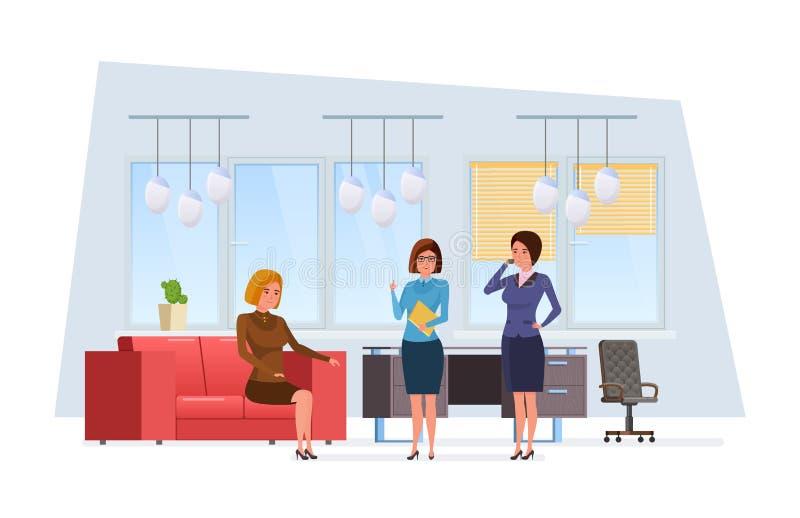 Trabalhadores, colegas, na sala do escritório, resto, detalhes do relatório do relatório ilustração royalty free