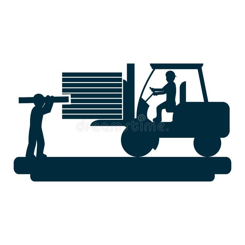 Trabalhadores com empilhadeira da construção e equipamento da indústria ilustração stock
