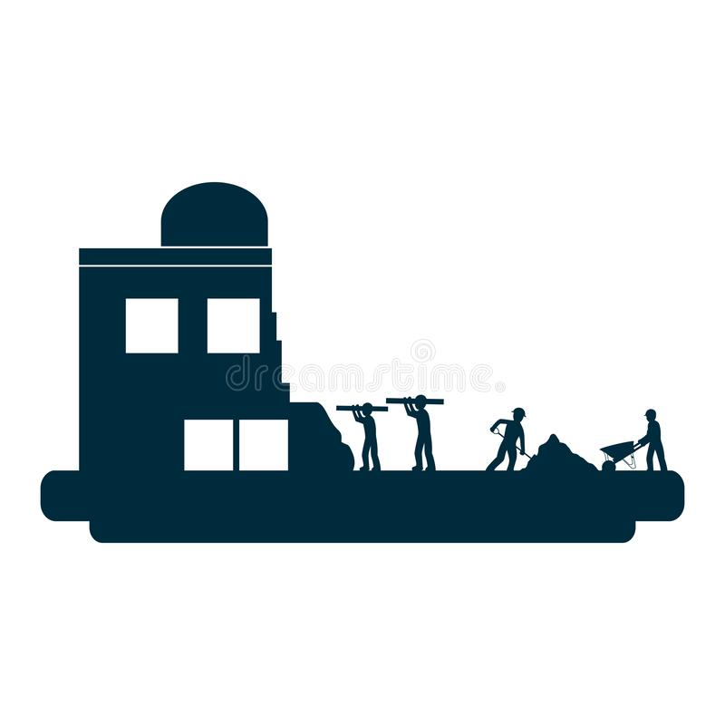 Trabalhadores com equipamento da indústria e construção da construção ilustração stock