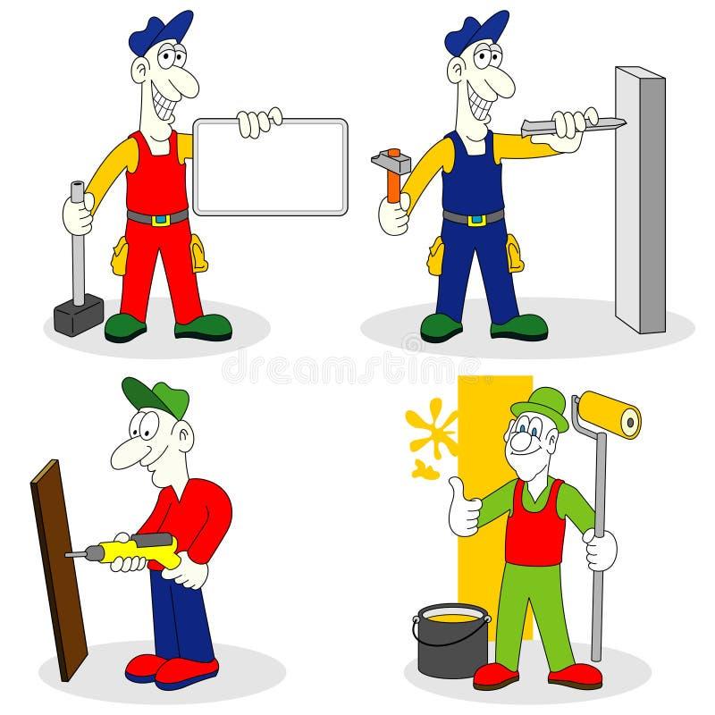 Trabalhadores com ferramentas ilustração stock