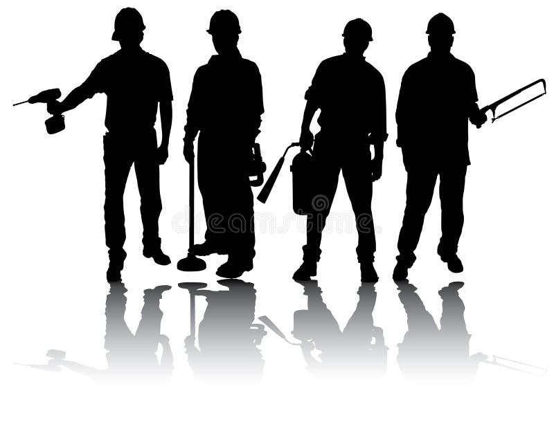Trabalhadores com ferramentas ilustração royalty free