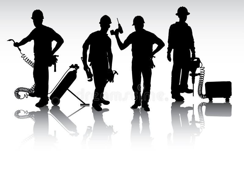 Trabalhadores com ferramentas ilustração do vetor