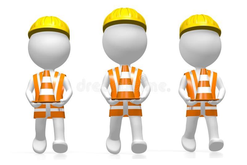 trabalhadores 3D que guardam cones do tráfego ilustração stock