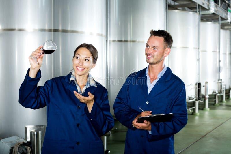 Trabalhadores da adega que tomam notas ao discutir a amostra de vinho fotos de stock