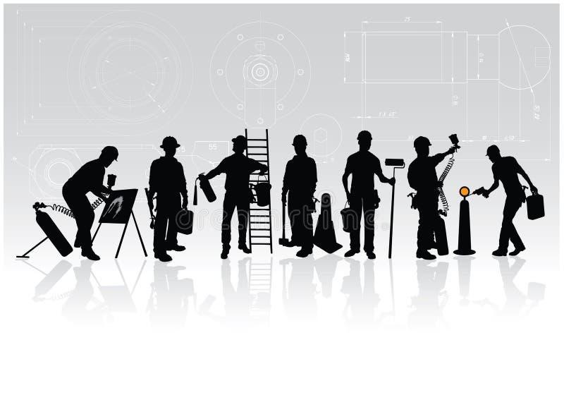 Trabalhadores da construção ilustração royalty free