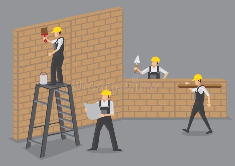 Trabalhadores da construção na ilustração do vetor do trabalho ilustração royalty free