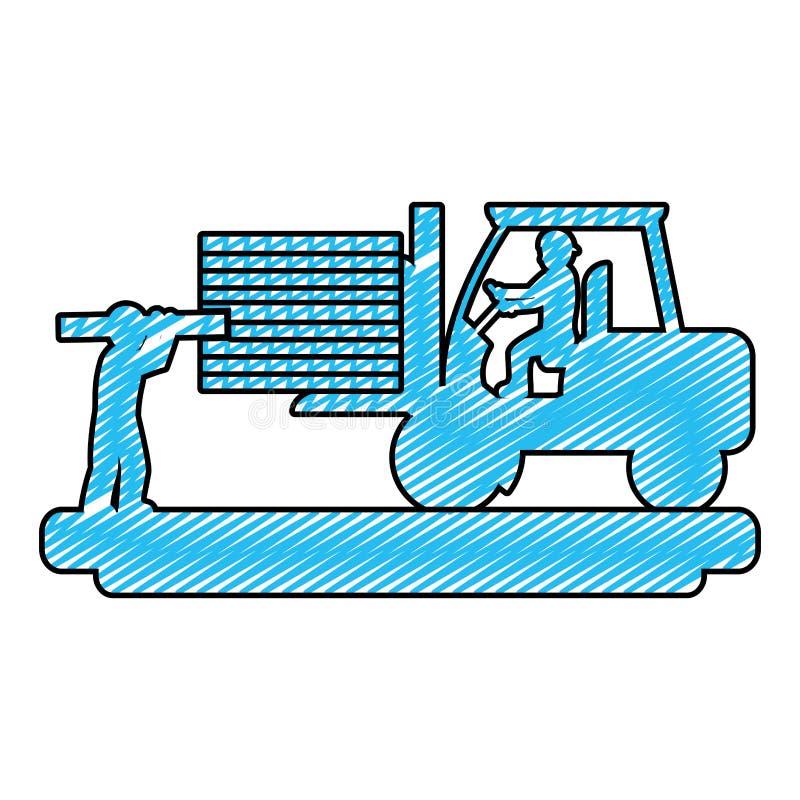 Trabalhadores da garatuja com empilhadeira da construção e equipamento da indústria ilustração do vetor