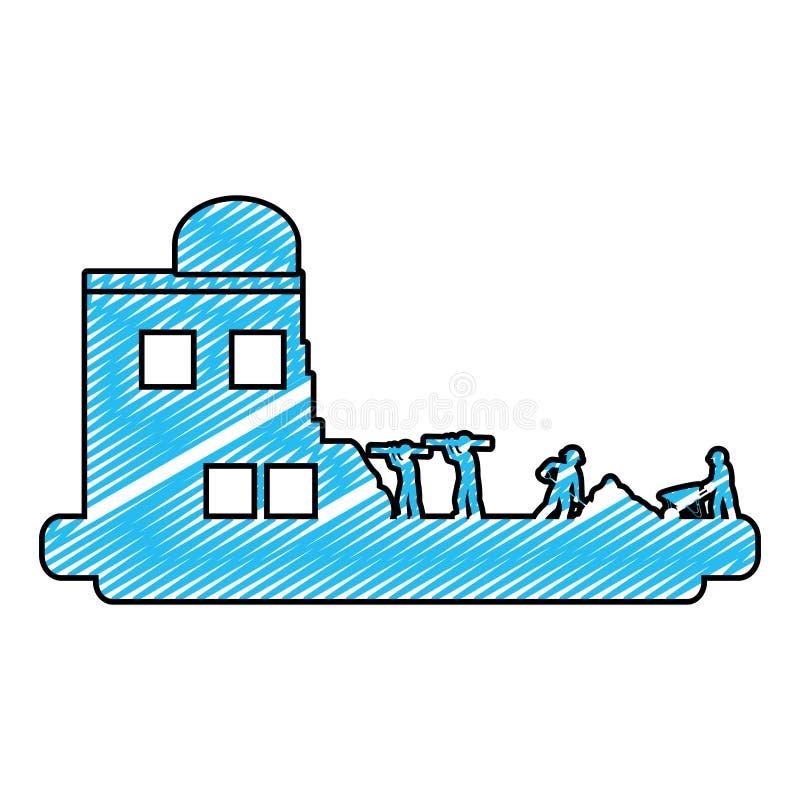 Trabalhadores da garatuja com equipamento da indústria e construção da construção ilustração do vetor