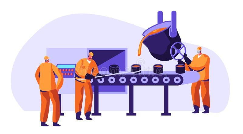 Trabalhadores da indústria da metalurgia no metal uniforme da fundição na fundição grande e no minério derretido quente de  ilustração do vetor