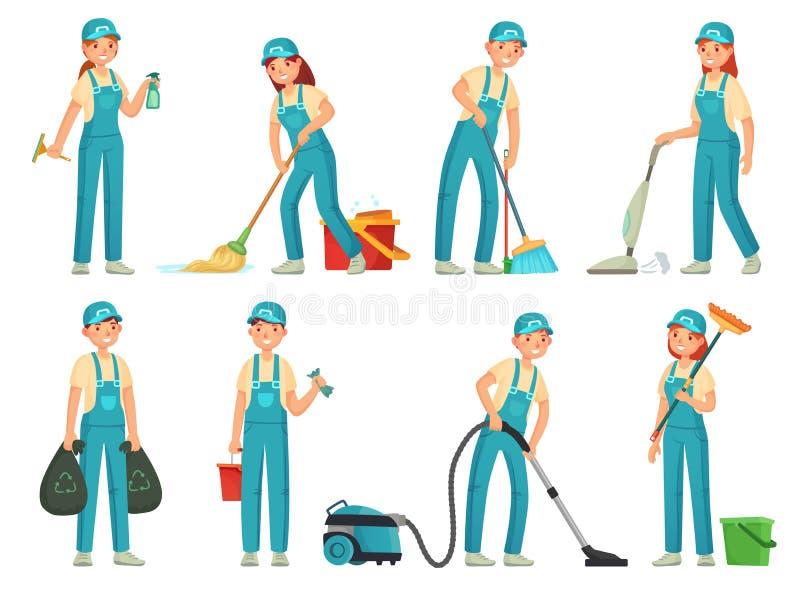 Trabalhadores da limpeza Pessoal de limpeza profissional, trabalhador mais limpo doméstico e equipamento dos líquidos de limpeza  ilustração do vetor