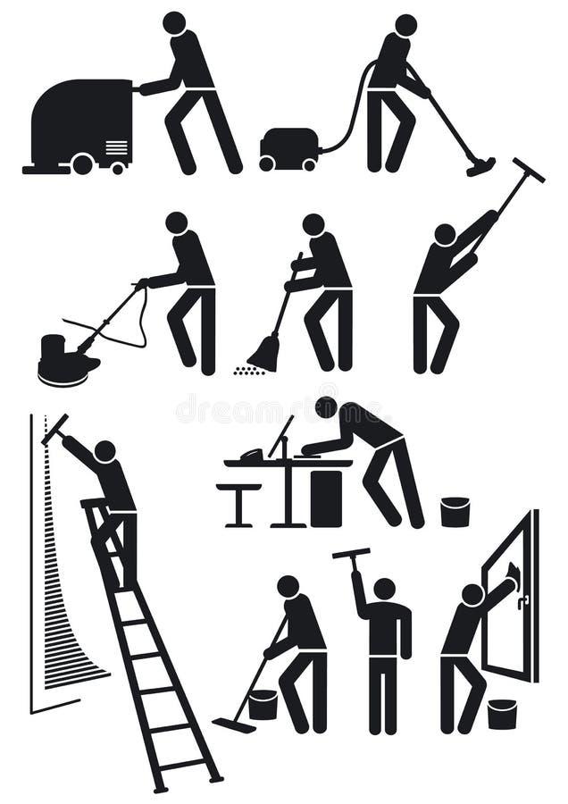 Trabalhadores da manutenção no preto ilustração do vetor